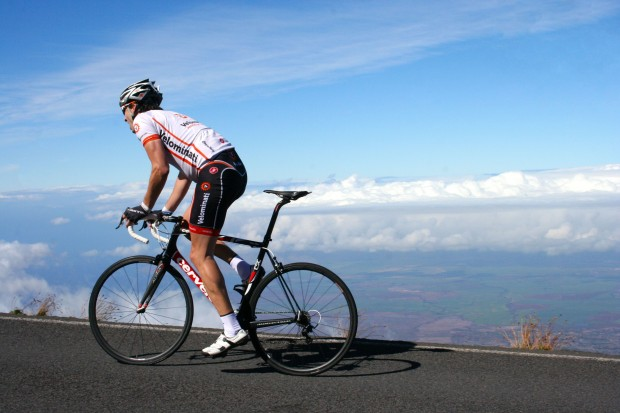 Frank climbs at 9,000 feet on Haleakala.