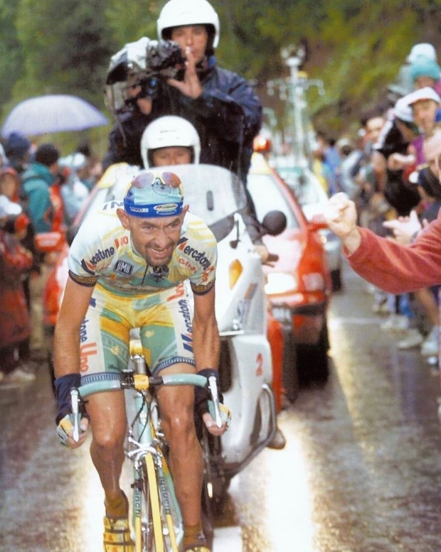 Pantani's guns glistened in the rain