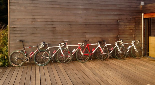 Bikes leaning at the gite, waiting to hit the cobbles on Keepers Tour 2013.