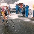 Johan Vandevelde wears a snow helmet on the Gavia during the '88 Giro.