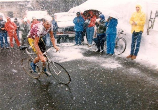 Johan Vandevelde wears a snow helmet on the Gavia during the '88 Giro.