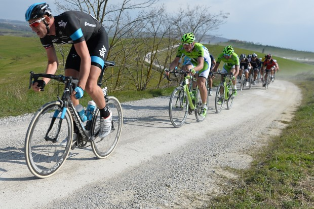 Ian Stannard crushes gravel and pulls the mortals in his wake of Awesome. Photo: Pedale.Forchetta