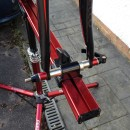Fork clamp and spacers on Feedback Sports Sprint stand