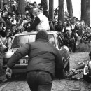 Rider and car (nearly) collide on the Koppenberg in the 1987 Tour of Flanders.