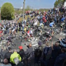 The bunch climbs the Mur de Huy