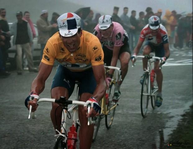 Indurain kills it with puny calves up some Merckxforsaken Pyrenean climb.