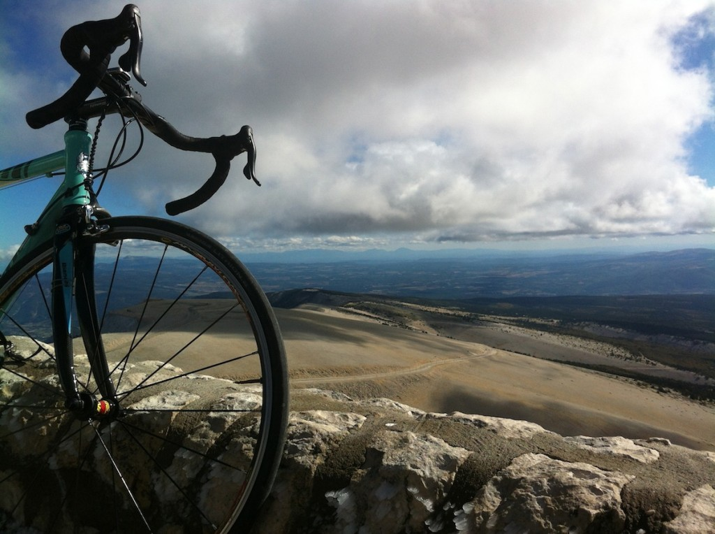 Summit of Mont Ventoux in October 2013.  Note rime ice on rocks.