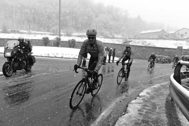 "T-Bone Farrar and Johan ""Big Ring"" Vansummeren ride in the elements. Photo: Pedale.Forchetta"